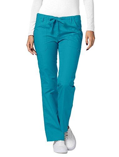 Adar Universal Womens Low-Rise Multipocket Drawstring Straight Leg Pants - 510 - Teal Blue - XS (Low Rise Elastic Waist Pant)