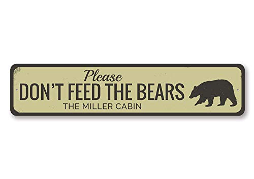 Personalized Please Don't Feed Bears Family Name Cabin Sign - Quality Aluminum ENSA1001910-4