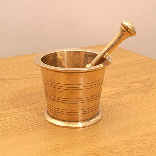 Mereappne Set of 2 Mortar and Pestle made of Brass Beautiful Gifts Ideas for Mom & - Brass Mortar