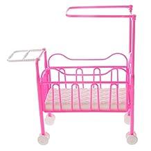 MagiDeal Lovely Miniatire Plastic Baby Crib Nursery Room Furniture for Barbie Sister Kelly Dolls