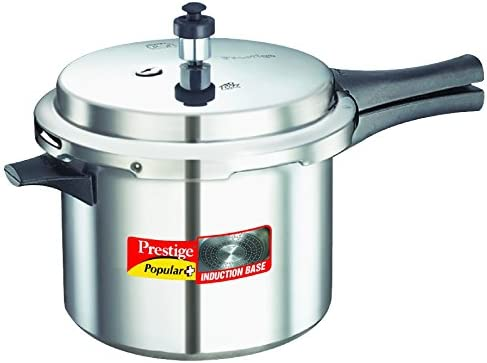 Prestige Popular Plus Induction Base Aluminium Pressure Cooker, 5 Litres, Silver at Rs.1116