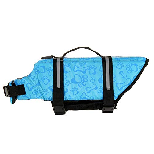 - Handfly Life Jackets for Dogs, Adjustable Dog Life Jacket,Reflective Dog Lifesaver Safety Vest,Pet Life Preserver Dog Saver Life Vest Coat for Swimming Surfing Boating Hunting,Blue Bone Pattern,XXS