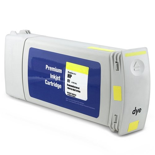 For HP 81 Ink Cartridge (C4933A) - Remanufactured, 680ml, Yellow (No Ink 81 Dye 5500)