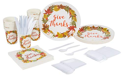 Disposable Dinnerware Set - Serves 24 - Thanksgiving Party Supplies Fall Themed Celebrations, Give Thanks Design, Includes Plastic Knives, Spoons, Forks, Paper Plates, Napkins, Cups