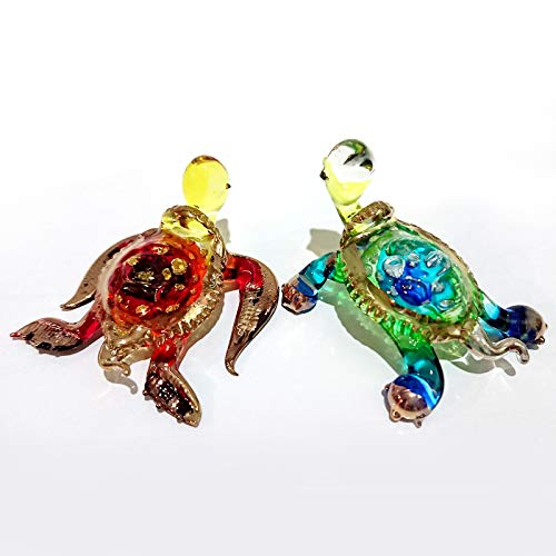 Sansukjai 2 Turtles Figurines Animals Hand Painted Multi-color Hand Blown Glass Art Collectible Gift Decorate