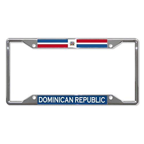 License Plate Covers Dominican Republic Flag Country Chrome License Plate Frame Tag Holder Four Holes