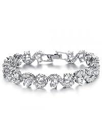 18 ct White Gold Plated White Zirconia Austrian Crystals Bracelet Luxury