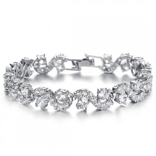 Tennis Bracelet with White Zirconia Crystals 18 ct White Gold Plated for Women 6.7 Crystalline
