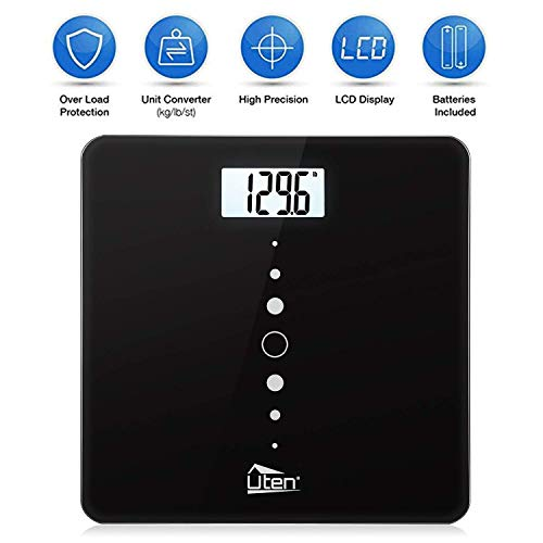 Lb Bathroom Scale 440 (Digital Body Weight Scale High Precision Bathroom Scales with Step-On Technology, Backlight Display, Round Corner Design and 8MM Glass, 440lb/31st/200kg Capacity)