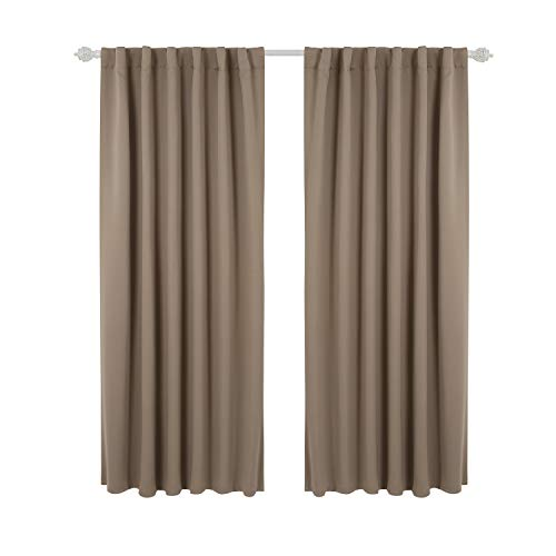 (Deconovo Solid Room Darkening Panels Back Tab and Rod Pocket Curtains Blackout Thermal Insulated Curtains for Living Room 52x63 Inch Khaki 1)
