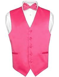 Men's Dress Vest & BowTie Solid HOT PINK FUCHSIA Color Bow Tie Set for Suit Tux