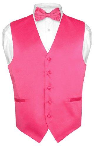 Men's Dress Vest & BowTie Solid HOT PINK FUCHSIA Color Bow Tie Set size Small