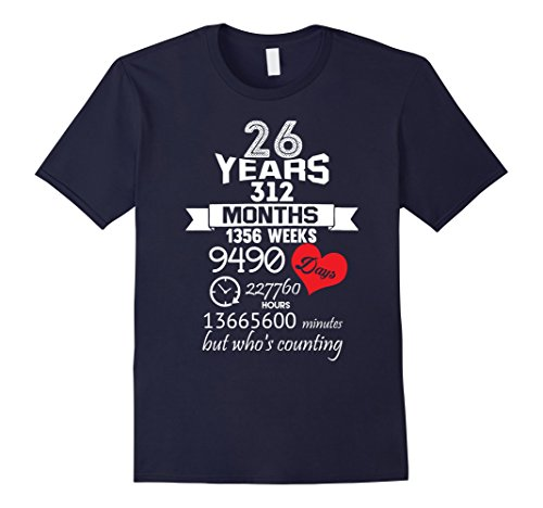 Men's Anniversary Gift 26th – 26 years Wedding Marriage ideas Medium Navy