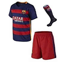 Youth Messi #10 Barcelona Home jersey with shorts and socks set