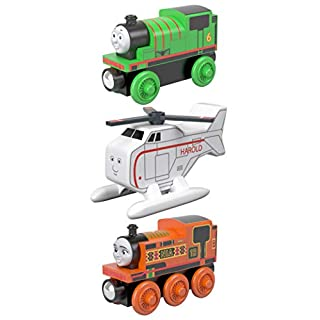 Thomas & Friends Railway Friends Wood 3-Pack of train engines: Percy, Nia and Harold.