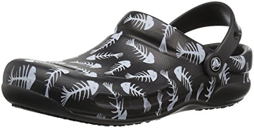 Crocs Unisex Bistro Graphic Clog,Black/Pearl White,9 US Men / 11 US Women