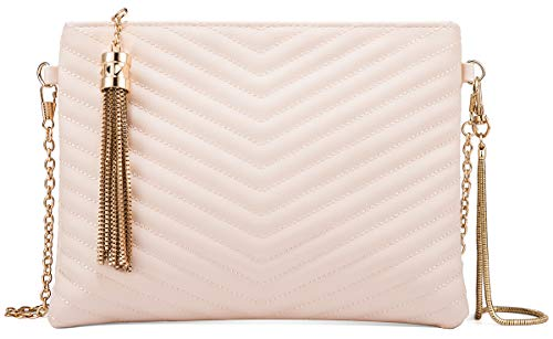 Women Clutch Purse Crossbody Evening Bags with Faux Leather Chain Wristlet Strap (Nude Beige)