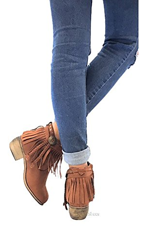 MVE Shoes Fringe Ankle Boot- Western Cowgirl Closed Toe Bootie - Low Heel Casual Comfortable Cowboy Walking Boot, brown 7.5