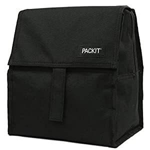 PackIt Freezable Lunch Bag with Zip Closure, Black 6