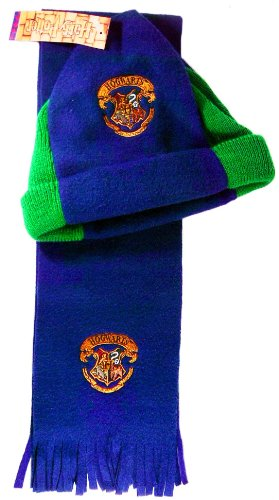 [Harry Potter Fleece Green Navy Blue Hat & Scarf Set with Hogwarts Crest Embroidery] (Blues Brothers Hat)