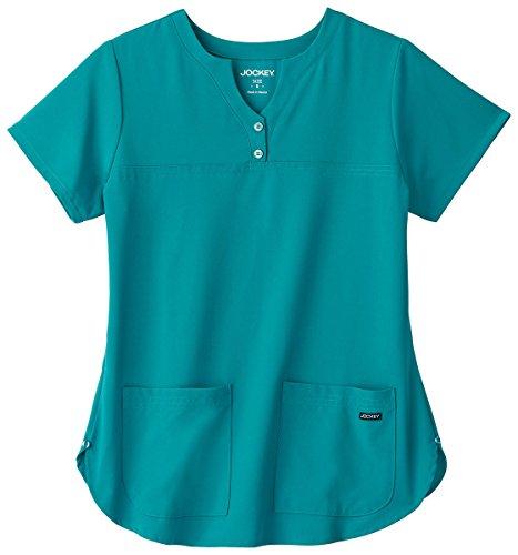 Classic Fit Collection By Jockey Women's Button Notch Neck Shirttail Solid Scrub Top Medium Teal (Scrub Shop Uniform)