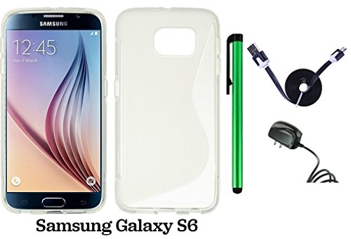 Samsung Galaxy S6 (2015 Samsung New Flagship Android Phone; US Carrier: Verizon Wireless, AT&T, Sprint, and T-Mobile) Phone Case - Premium Pretty S Shape TPU Flexible Design Rubber Skin Cover Case + Travel (Wall) Charger + 1 of 1M/3Feet Stylish Micro USB  by WAM Samsung Galaxy S8
