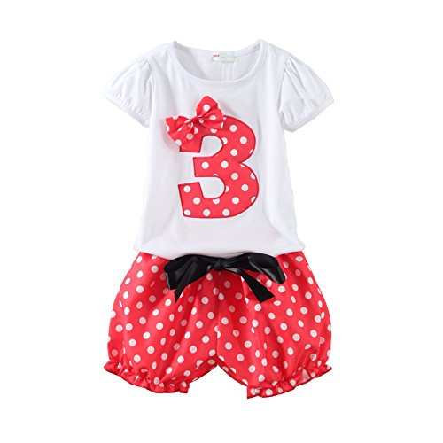Mud Kingdom Little Girls Birthday Outfits I Am 3 Years Clothes Short Sets Red 3T