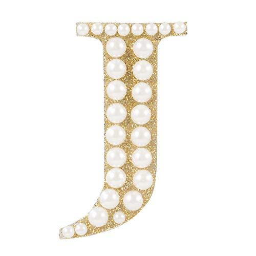 - Darice 30053616 Gold & Pearl Monogram Letter J Sticker, Gold