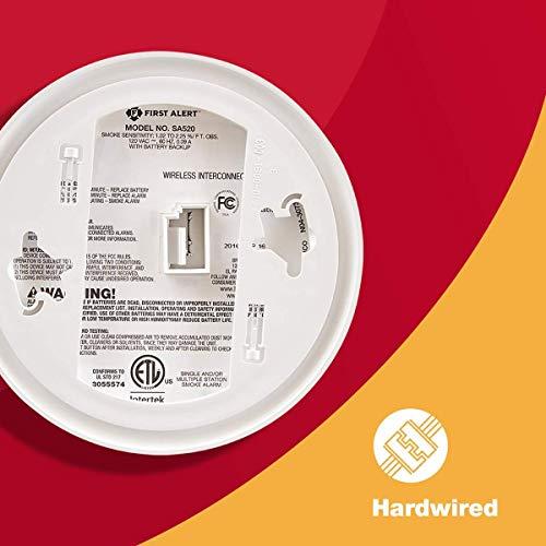 First Alert sa521cn interconectado Hardwire, Detector de Humo Alarma con Respaldo de batería: Amazon.es: Bricolaje y herramientas