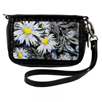 Diamond Black Croc Leather - Cell Phone Case Wristlet- Black- Daisy Day