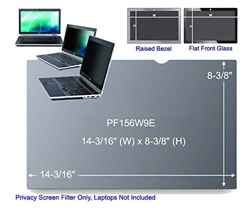 3M PF156W9E Black Frameless Privacy Filter for 15.6'' Edge-to-Edge Widescreen Laptop (16:9) (161320)