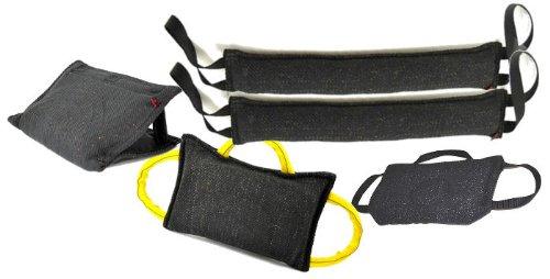 Bundle - 1 - 3 Handle Bite Pillow, 1 3 Handle Bite Wedge, 1 - 3 Handle Flat Bite Tug, 2 - 4'' X 24'' 2 Handle Bite Tug Toys, ALL French Linen - Redline K9