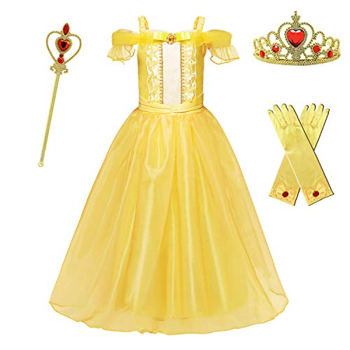 HNXDYY Princess Belle Dress Girls Party Carnival Cosplay Fancy Costume Off Shoulder Deluxe Yellow Gowns Size(150) 7-8 Years