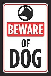 Cuidado de perro impresión negro blanco rojo imagen símbolo Scary aviso animales Caution–Señal de metal de aluminio