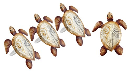 Seaside Sea Turtle Pearlized Napkin Rings - Set of - Serving Fork Tortoise