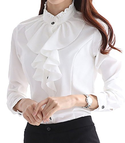 JHVYF Women's Chiffon Ruffled Long Sleeve Blouse Formal Work Button Down Shirt White US 4(Tag XL)