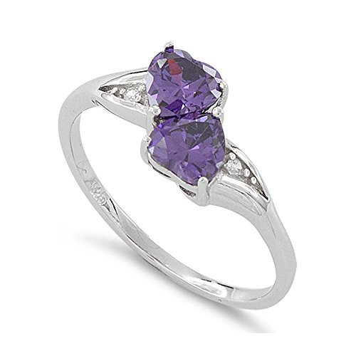 Double Heart Ring (Sterling Silver Simulated Amethyst Double Heart Ring - Size 7)