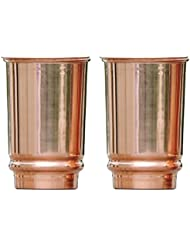 Pure Copper Tumbler Set of 2 | Traveller's Copper Mug With Copper Lids Serving Water by HealthGoodsIn | 350 Ml (11.8 US Fluid Ounce) Capacity | Made of 99.5% Copper