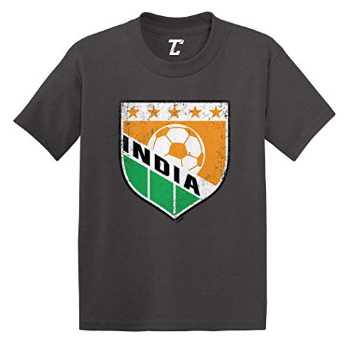 India Soccer - Distressed Badge Infant/Toddler Cotton Jersey T-Shirt (Charcoal, 12 Months) (India Home Shirt)