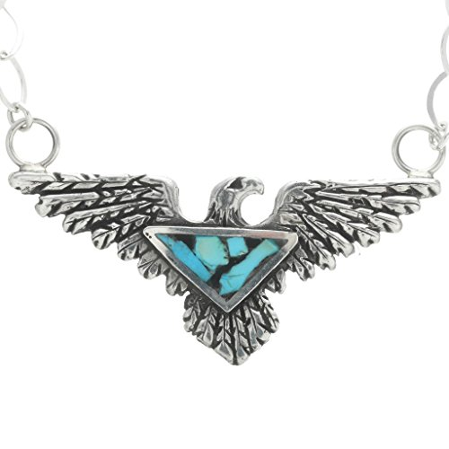 - Inlaid Turquoise Silver Eagle Pendant Navajo Ladies Link Necklace 1232