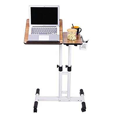 AZDENT Overbed Table on Wheels Height Adjustable Tiltable Beside Table Rolling Laptop Carts