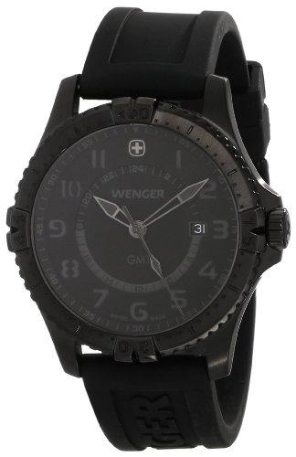 Wenger Men's 77074 Squadron GMT All-Black Rubber Strap