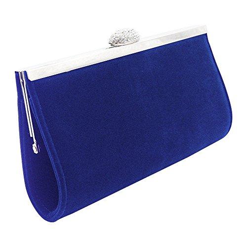 Wiwsi Sparkly Evening Clutch Purse for Party Women/Ms Velvet Prom Dinner Handbag(Royal Blue)