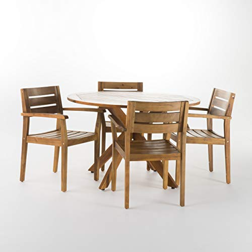 GDF Studio Stanyan | 5 Piece Outdoor Acacia Wood Dining Set | Perfect for Patio | with Teak Finish ()