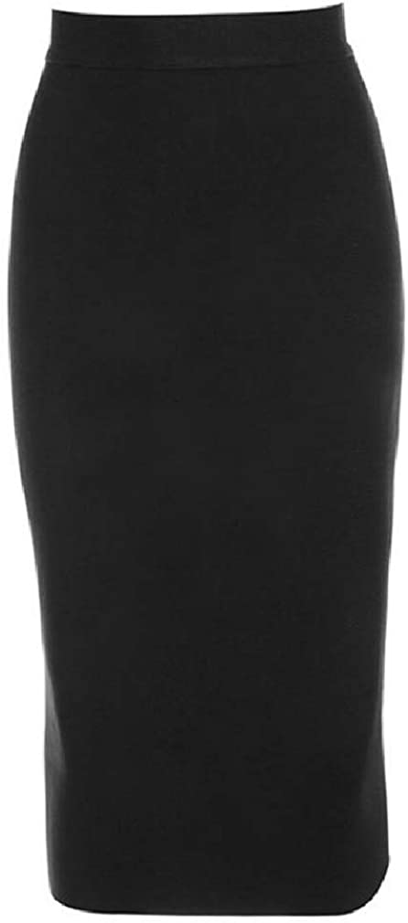 Etecredpow-CA Womens High Waist Sueded Bodycon Zip Up Mid Length Skirts