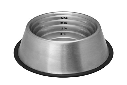 Revival Bowl - Indipets Stainless Steel Capacity Measurement Bowl, Large up to 64 -Ounce
