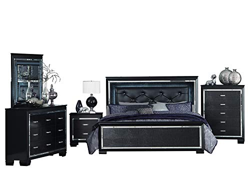 Alligator Nightstand - Algiers 5PC Bedroom Set Cal King LED Bed, Dresser, Mirror, Nightstand, Chest in Black Alligator Embossed