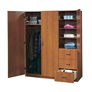 Large storage armoire wardrobe closet mission cherry kitchen dining for Bedroom armoire with tv storage