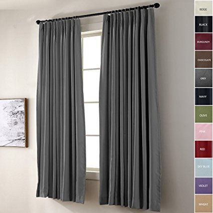 FirstHomer Pinch Pleat Solid Window Treatment Thermal Insulated Blackout Room Darkening Curtains / Drapes for Bedroom,50 Inch Wide By 96 Inch Long,Grey(One Panel) (Inch Pleat Pinch Drapes 96)