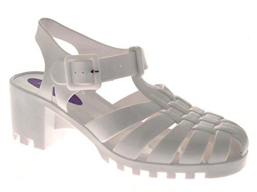 Lora Dora Womens Block Chunky Heel Jelly Sandals White